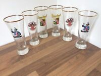 Six Collectable German Beer Glasses For Quick Sale