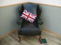 Stunning Green Leather Sherborne Queen Chair.