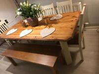 Shabby chic farmhouse dining table 5 chairs and bench