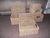 Set of five rattan baskets