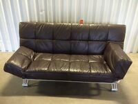 Leather sofa bed in excellent condition - black leather // free delivery