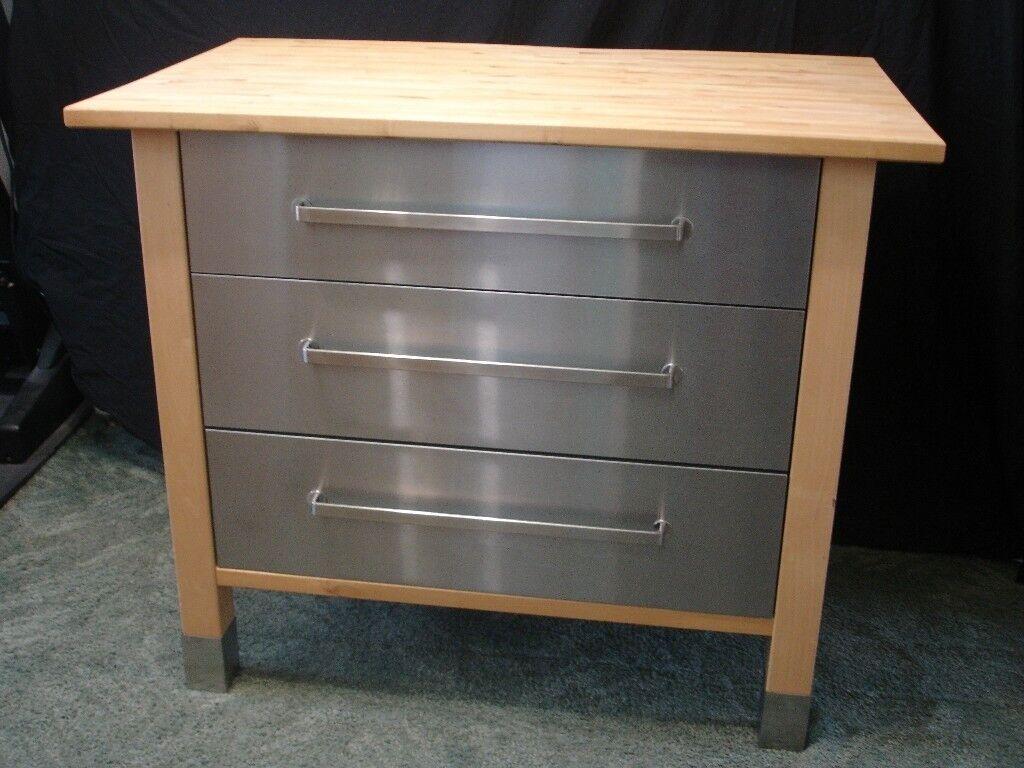 Ikea Varde Freestanding Birch Wood Stainless Steel 3 Drawer