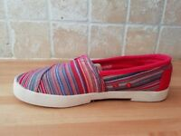 Red canvas Toms shoes UK size 4