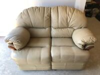 CAN DELIVER- CREAM LEATHER 2 SEATER RECLINER SOFA