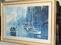 Anchored sailing boats on lake