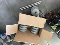 Free York dumbbells and barbell