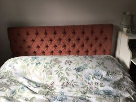 For Sale deep dusty pink double bed headboard (4'6) in excellent condition