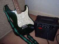 Encore electric lead guitar and amp