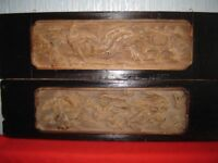 Pair Chinese wood carved panels