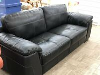 Immaculate Black Leather Sofa