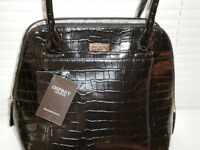 Black Osprey Ladies shoulder handbag - croc print - never been used!