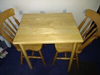 PINE Dining / Kitchen Table + 2 Chairs - Solid wood