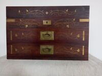 Wooden Box with Brass Inlay and 2 Drawers
