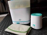 Philip avent electric steam sterilizer, Mothercare bottle warmer.