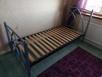 Feather & Black Metal Single Bed
