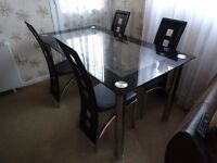 Modern Black & Clear Glass Dining Table and 4 chairs need gone asap!!!!!!!