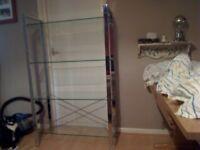 Modern Sturdy Glass/Chrome 4 Shelf Unit