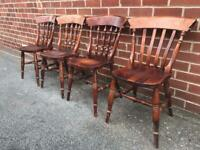 X4 Pine Dining Chairs Kitchen Shabby Chic Country Cottage Vintage
