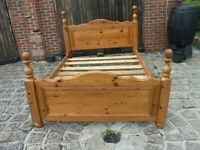 ANTIQUE WAXED PINE BOUBLE BED WITH MATTRESS