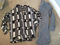 Two new look 2017 shirts gingham longline shirt & cold shoulder size 8-10