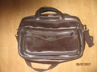 Ariana brief case/college bag in brown. 12 and half inches x 17 inches x 5 and half inches
