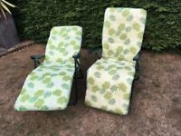 Reclining Garden Chairs - two folding chairs with footrests
