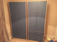 A Pair of Children's Wardrobes with drawers in Blue from Malibu Argos kids range