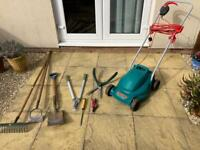 Lawnmower and gardening tools