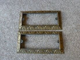 antique brass frames/plaque holders x 2