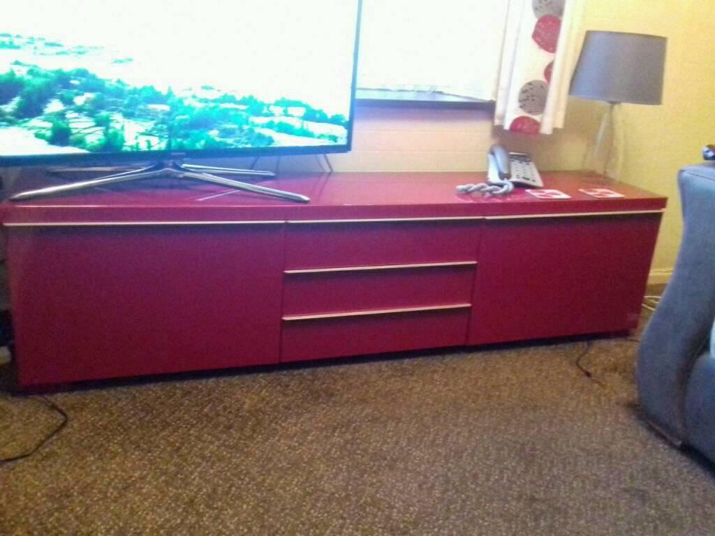 High gloss ikea tv-storage unit.