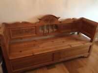 Beautiful wooden settle with under seat storage
