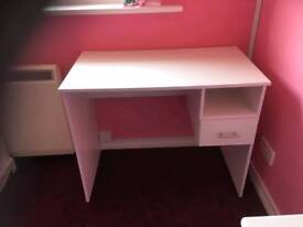 Whit desk with draw and shelf