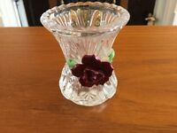 Pretty Glass Thistle Shaped Posy Vase with Decorative Ceramic Flower on the Front