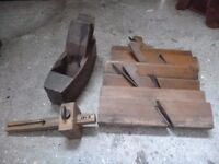 Vintage wooden hand carpentry tools
