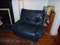Retro dark blue leather armchair