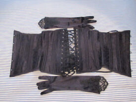Black LACE-UP Corset with Gloves