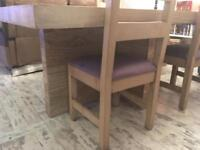 Large solid dining table and 4 chairs