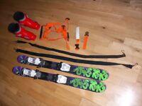 Ski Boots Rossignol Kids 223mm 18.5 Mundo Size 10/11, Skis K2 90 cm, Body Harness & Ankle Raines