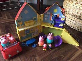 Peppa pig house, car & figures