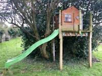 Tree house play shed slide garden playground