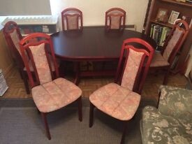 Dining room table and six chairs. Solid mahogany wood