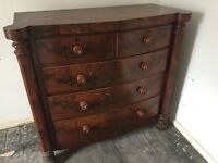 Antique Victorian Mahogany 2 over 3 chest of drawers.