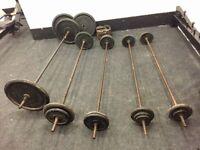 Cast Iron Weights Plates Discs & Bars Standard 1 inch York 160kg+ Gym Equipment