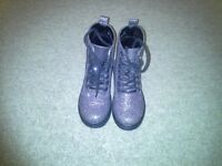 Girls silver glitter effect and black Dr. Martin style boots, size 9, excellent condition, like new.
