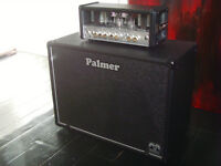Hughes and Kettner guitar amplifier Tubemeister 18 valve head with footswitch, Palmer 1x12 cabinet