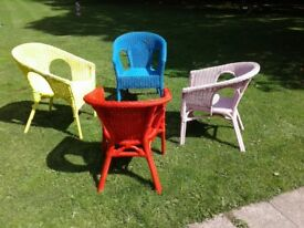 Four wicker chairs upcycled and painted