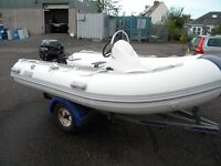 3.3M RIB PACKAGE COMPLETE WITH CONSOLE STEERING, AND 15HP TOHATSU - READY FOR THE WATER