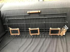 Black metal and wood letter rack