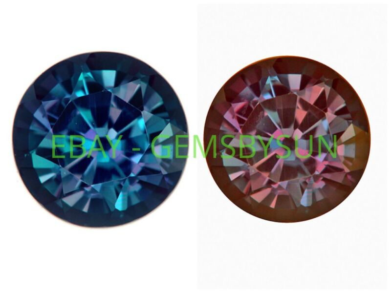 Lab Created Pulled Alexandrite True Color Change Round Loose Stones (1.5 - 25mm)