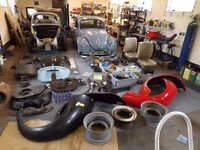 2 classic vw beetles and a lot of parts